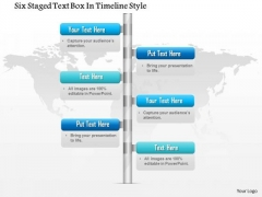 Business Diagram Six Staged Text Box In Timeline Style Presentation Template
