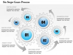 Business Diagram Six Steps Gears Process Presentation Template