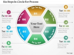 Business Diagram Six Steps In Circle For Process Presentation Template