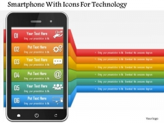 Business Diagram Smartphone With Icons For Technology Presentation Template