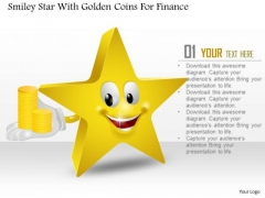 Business Diagram Smiley Star With Golden Coins For Finance PowerPoint Slide Template