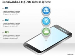 Business Diagram Social Media And Big Data Icons In Iphone Ppt Slide