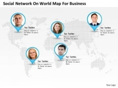 Business Diagram Social Network On World Map For Business Presentation Template