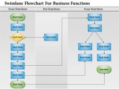Business Diagram Swimlane Flowchart For Business Functions Presentation Template