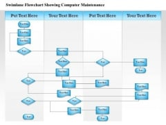 Business Diagram Swimlane Flowchart Showing Computer Maintenance Presentation Template