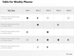 Business Diagram Table For Weekly Planner Presentation Template