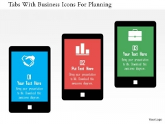 Business Diagram Tabs With Business Icons For Planning Presentation Template