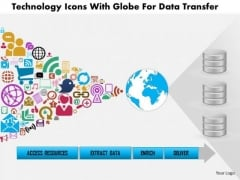 Business Diagram Technology Icons With Globe For Data Transfer Presentation Template