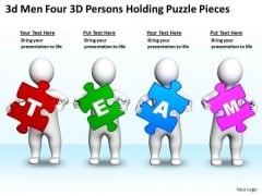 Business Diagram Templates 3d Men Four Persons Holding Puzzle Pieces PowerPoint Slides
