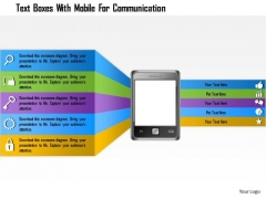 Business Diagram Text Boxes With Mobile For Commuinication Presentation Template