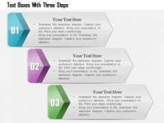 Business Diagram Text Boxes With Three Steps Presentation Template