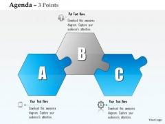 Business Diagram Three Alphabetic Blocks Agenda Diagram Presentation Template