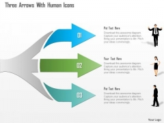 Business Diagram Three Arrows With Human Icons Presentation Template