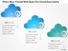 Business Diagram Three Blue Clouds With Keys For Cloud Data Safety Presentation Template