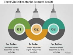 Business Diagram Three Circles For Market Research Results Presentation Template