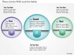 Business Diagram Three Circles With Lock For Safety Presentation Template