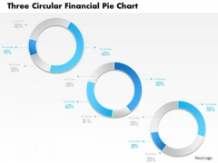 Business Diagram Three Circular Financial Pie Chart PowerPoint Template