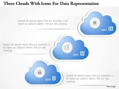 Business Diagram Three Clouds With Icons For Data Representation Presentation Template