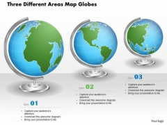 Business Diagram Three Different Areas Map Globes Presentation Template