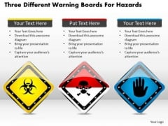 Business Diagram Three Different Warning Boards For Hazards Presentation Template