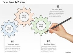Business Diagram Three Gears In Process Presentation Template