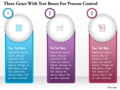 Business Diagram Three Gears With Text Boxes For Process Control Presentation Template