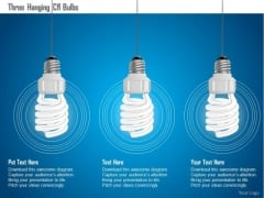 Business Diagram Three Hanging Cfl Bulbs Presentation Template