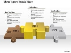 Business Diagram Three Jigsaw Puzzle Piece Presentation Template