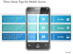 Business Diagram Three Linear Tags For Mobile Screen Presentation Template