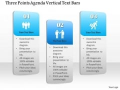 Business Diagram Three Points Agenda Vertical Text Bars Presentation Template