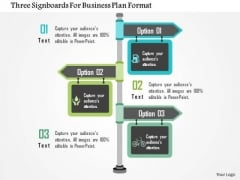 Business Diagram Three Signboards For Business Plan Format Presentation Template