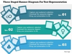 Business Diagram Three Staged Banner Diagram For Text Representation Presentation Template