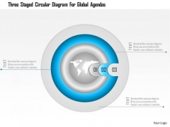 Business Diagram Three Staged Circular Diagram For Global Agendas Presentation Template