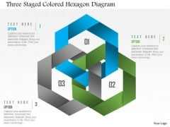 Business Diagram Three Staged Colored Hexagon Diagram PowerPoint Template