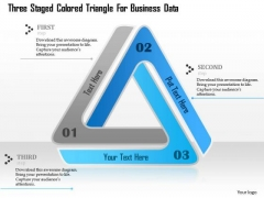 Business Diagram Three Staged Colored Triangle For Business Data Presentation Template