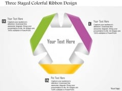 Business Diagram Three Staged Colorful Ribbon Design Presentation Template