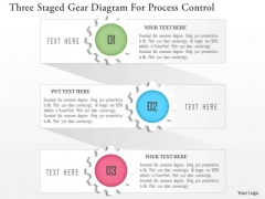 Business Diagram Three Staged Gear Diagram For Process Control Presentation Template
