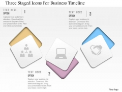Business Diagram Three Staged Icons For Business Timeline Presentation Template