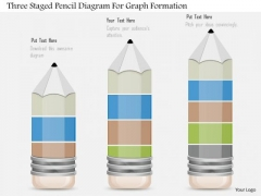 Business Diagram Three Staged Pencil Diagram For Graph Formation PowerPoint Slide