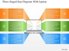 Business Diagram Three Staged Step Diagram With Laptop PowerPoint Template