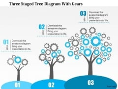 Business Diagram Three Staged Tree Diagram With Gears Presentation Template