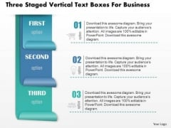 Business Diagram Three Staged Vertical Text Boxes For Business PowerPoint Slide Template