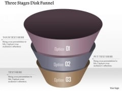 Business Diagram Three Stages Disk Funnel Presentation Template