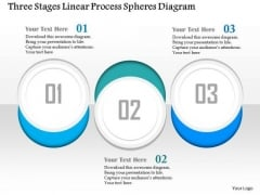Business Diagram Three Stages Linear Process Spheres Diagram Presentation Template