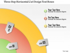 Business Diagram Three Step Horizontal Cut Design Text Boxes Presentation Template