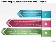 Business Diagram Three Steps Arrow Text Boxes Info Graphic Presentation Template