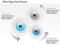 Business Diagram Three Steps Gears Process Presentation Template