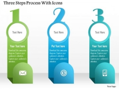 Business Diagram Three Steps Process With Icons Presentation Template