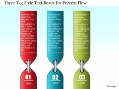 Business Diagram Three Tag Style Text Boxes For Process Flow PowerPoint Slide Template