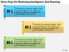 Business Diagram Three Tags For Marketing Intelligence And Planning Presentation Template